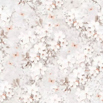 144012 Lipsy London Spring Blossom Coral Glitter Wallpaper