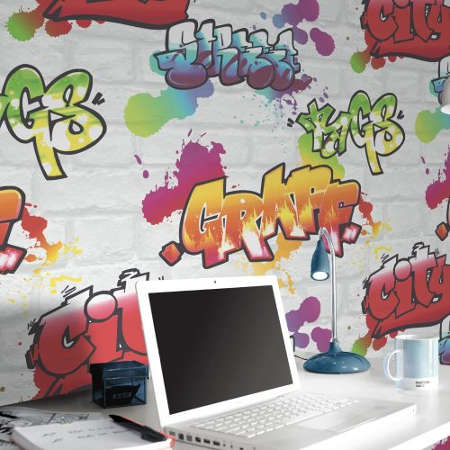 272901 Urban Graffiti Wallpaper White Color Rasch