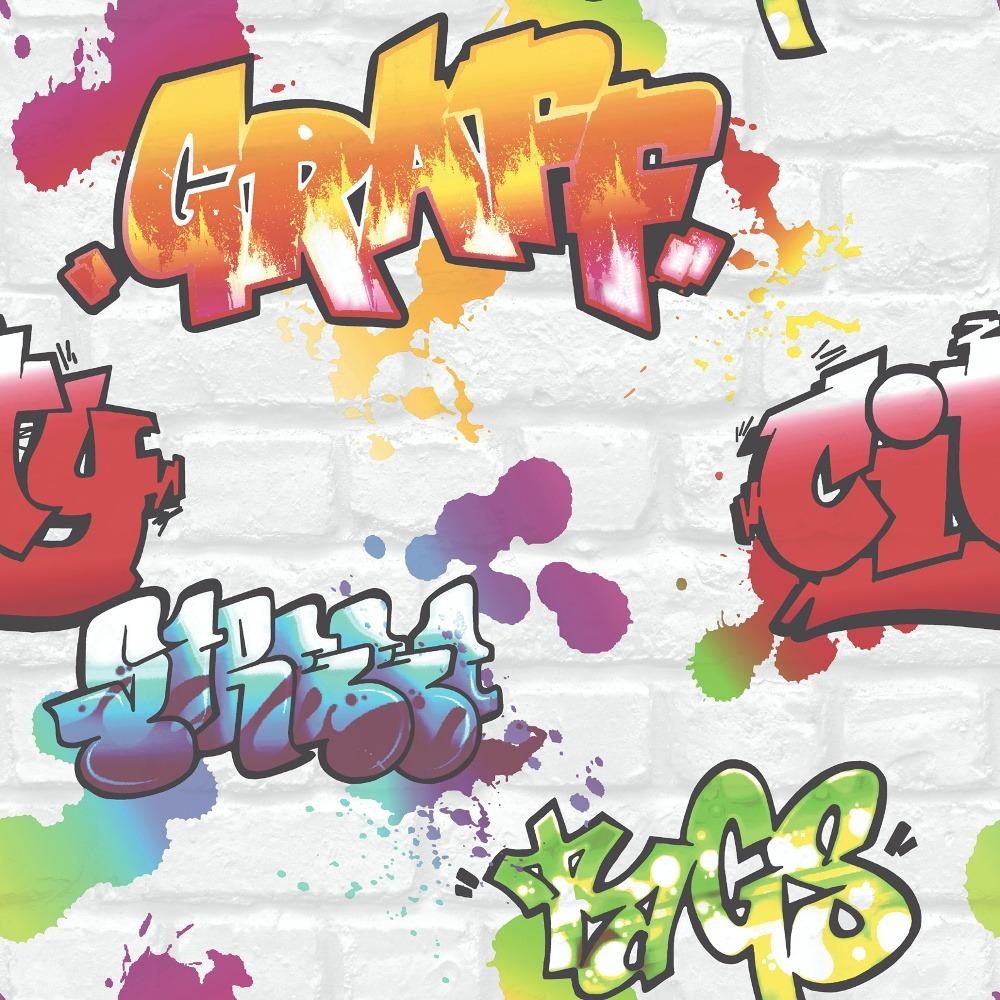 272901 Urban Graffiti Wallpaper White Color Rasch