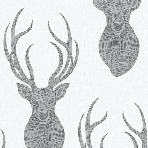 273717 Rasch Stag White Black Glitter Wallpaper Collection