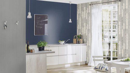 431964 Plain Colour Textured Blue Fleece Wallpaper Rasch