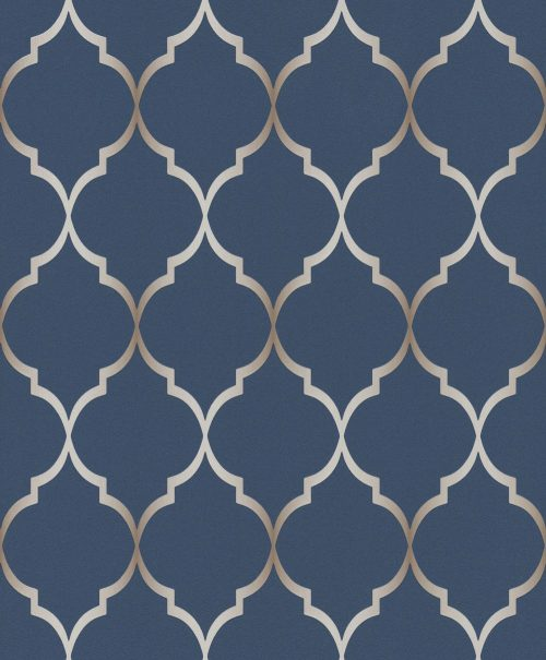 701647 Selection Chelsea Trellis Blue Wallpaper Rasch