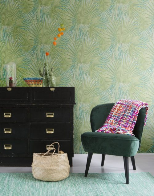 803310 Tropical palm leaf turquoise green Rasch Wallpaper