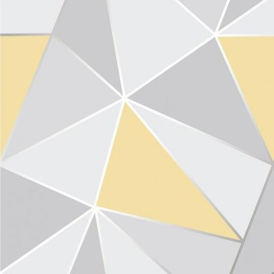 FD41991 Fine Decor Apex Geo Yellow Grey Geometric Design Wallpaper