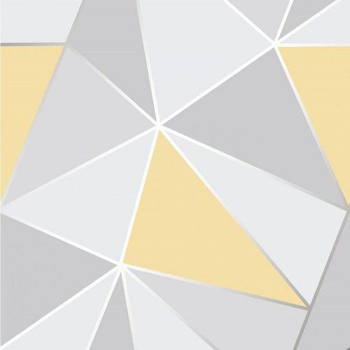 FD41991 Fine Decor Apex Geo Yellow Grey Geometric Design Wallpaper