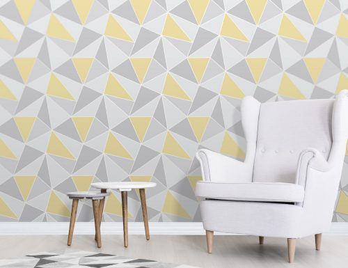 FD41991 Fine Decor Apex Geo Yellow Grey Geometric Design Wallpaper1