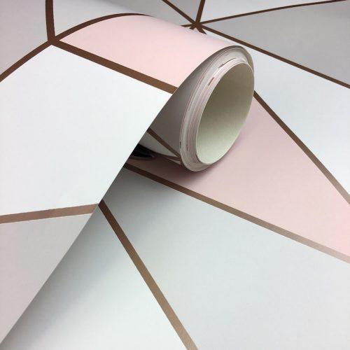 FD41993 Fine Decor Apex Geo Rose Gold Geometric Design Wallpaper2