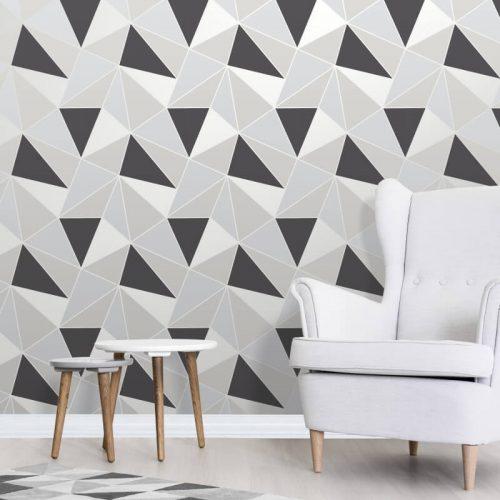 FD41994 Fine Decor Apex Geo Black Silver Geometric Design Wallpaper 2