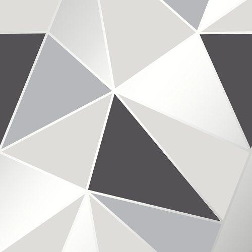 FD41994 Fine Decor Apex Geo Black Silver Geometric Design Wallpaper