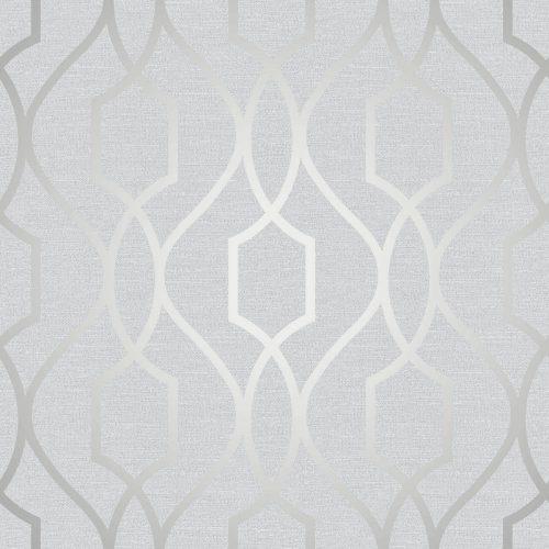 FD41995 Fine Decor Apex Trellis Silver Wallpaper