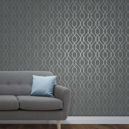 FD41996 Fine Decor Apex Trellis Blue Slate Wallpaper1 2