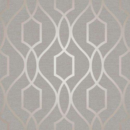 FD41997 Fine Decor Apex Trellis Taupe Grey Wallpaper