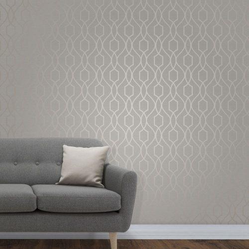 FD41997 Fine Decor Apex Trellis Taupe Grey Wallpaper1