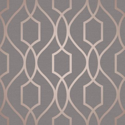 FD41998 Fine Decor Apex Trellis Copper Charcoal Wallpaper