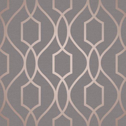 FD41998 Fine Decor Apex Trellis Copper Charcoal Wallpaper