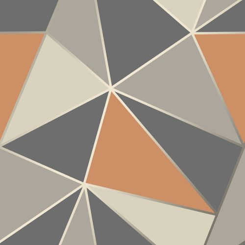 FD42002 Fine Decor Apex Geo Burnt Orange Geometric Design Wallpaper
