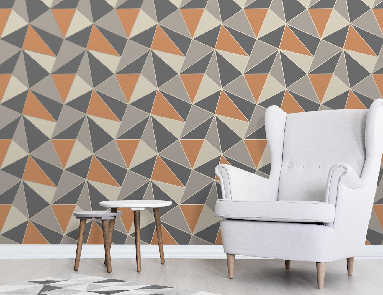 Fd42002 Fine Decor Apex Geo Burnt Orange Geometric Design Wallpaper