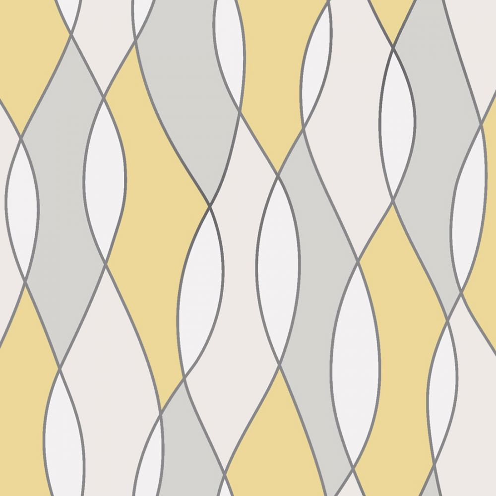 FD42170 Fine Decor Apex Wave Yellow Grey Wave Design