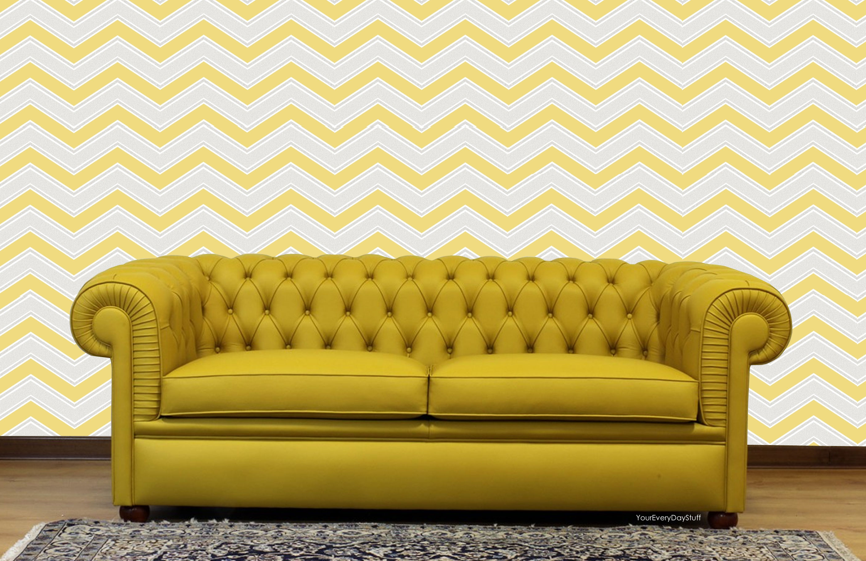 M1144 coloroll chevron geometric wave yellow glitter wallpaper for Chevron wallpaper home uk