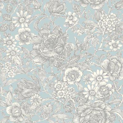 M1186 Crown Wild Hedgerow Floral Light Blue Wallpaper
