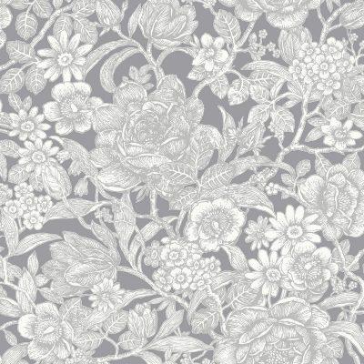 M1188 Crown Wild Hedgerow Floral Grey Wallpaper