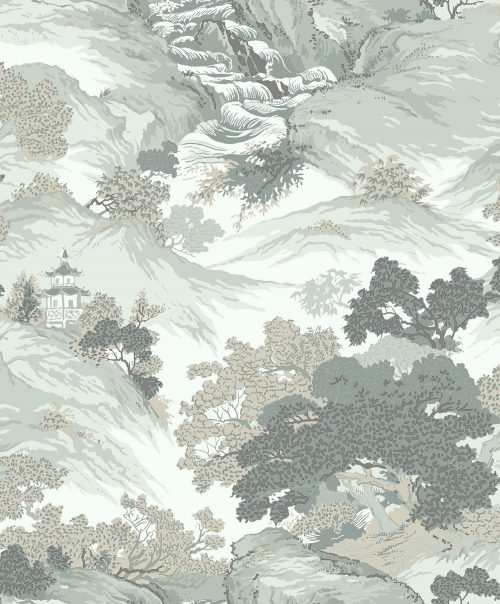 M1191 Crown Oriental Landscape Eau De Nil Wallpaper