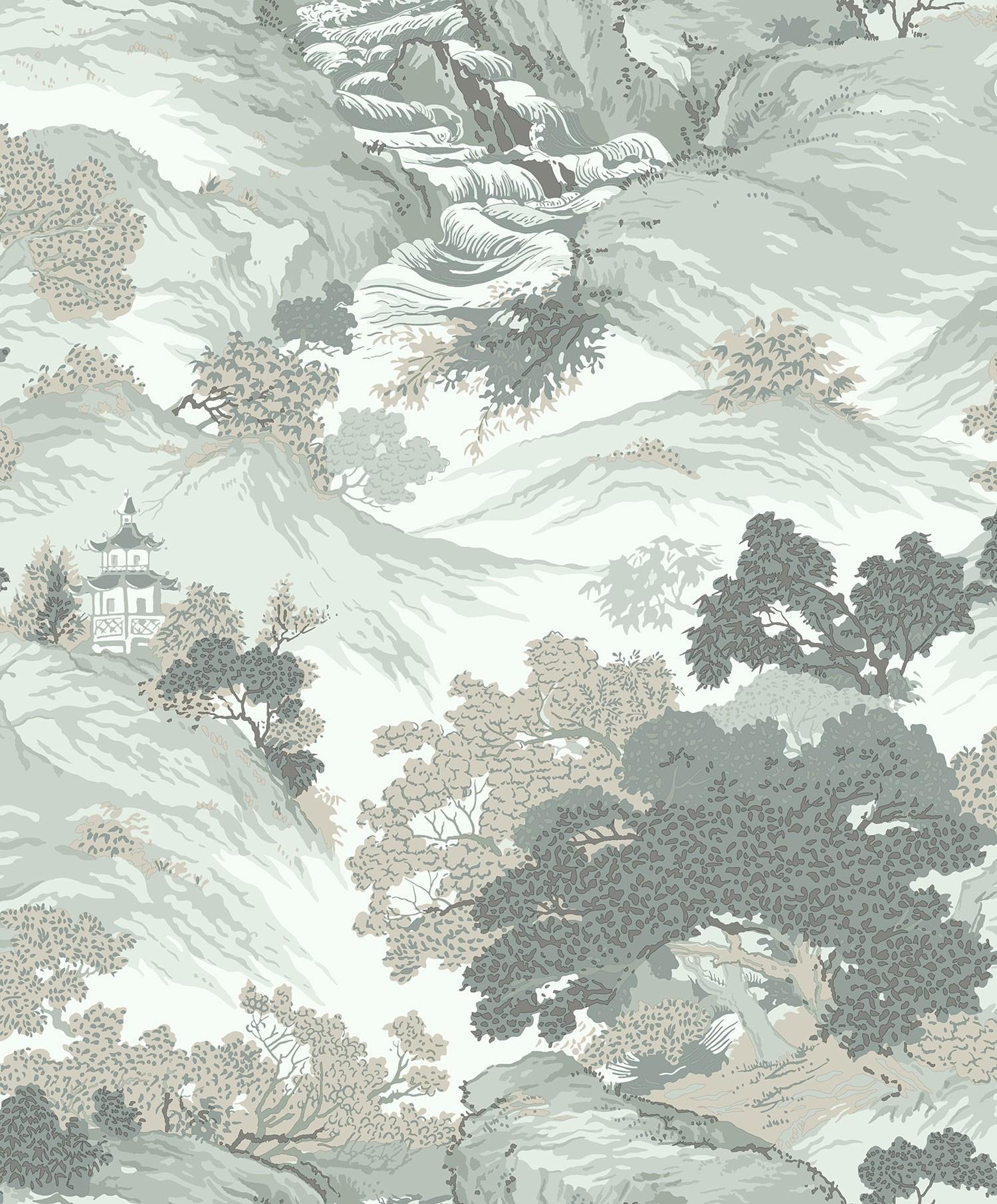 M1191 Crown Oriental Landscape Eau De Nil Wallpaper