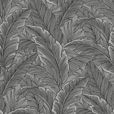 UK10004 Pear Tree Tropical Leaves Silver Grey Glitter Wallpaper