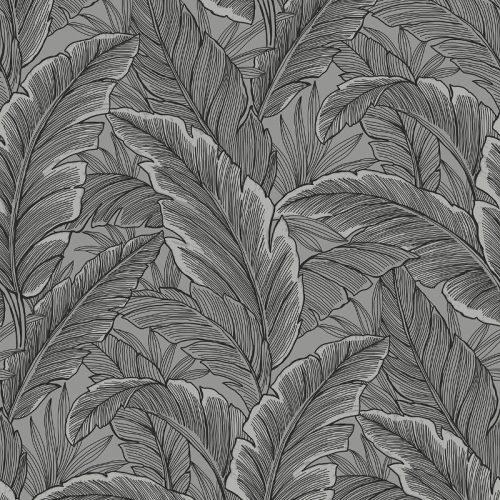 UK10004 Pear Tree Tropical Leaves Silver Grey Glitter Wallpaper