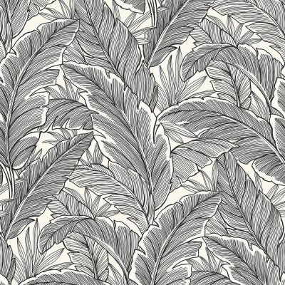 UK10005 Pear Tree Tropical Leaves Black Pearl Glitter Wallpaper