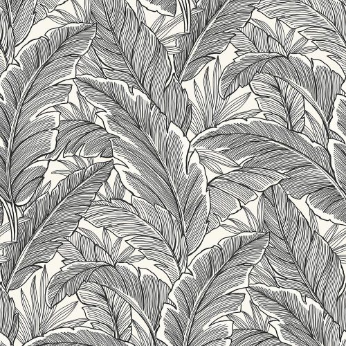 UK10005 Pear Tree Tropical Leaves Black Pearl Wallpaper