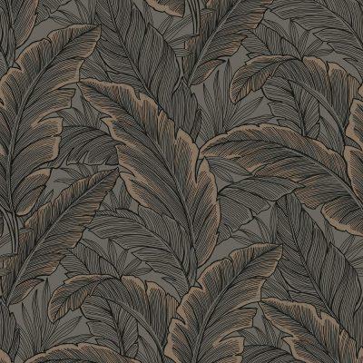 UK10048 Pear Tree Tropical Leaves Choc Rose Gold Glitter Wallpaper