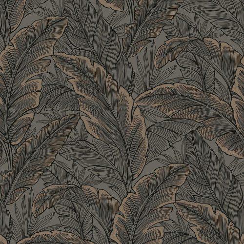 UK10048 Pear Tree Tropical Leaves Choc Rose Gold Glitter Wallpaper