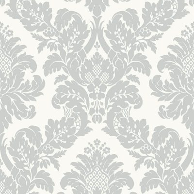 UK10432 Pear Tree Fabric Damask White Silver Glitter Wallpaper