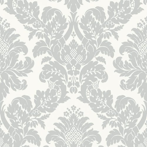 UK10432 Pear Tree Fabric Damask White Silver Glitter Wallpaper