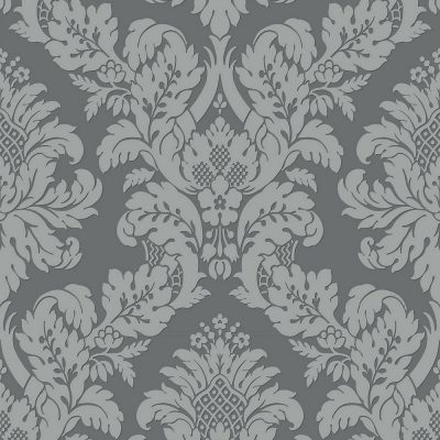 UK10435 Pear Tree Fabric Damask Grey Silver Glitter Wallpaper