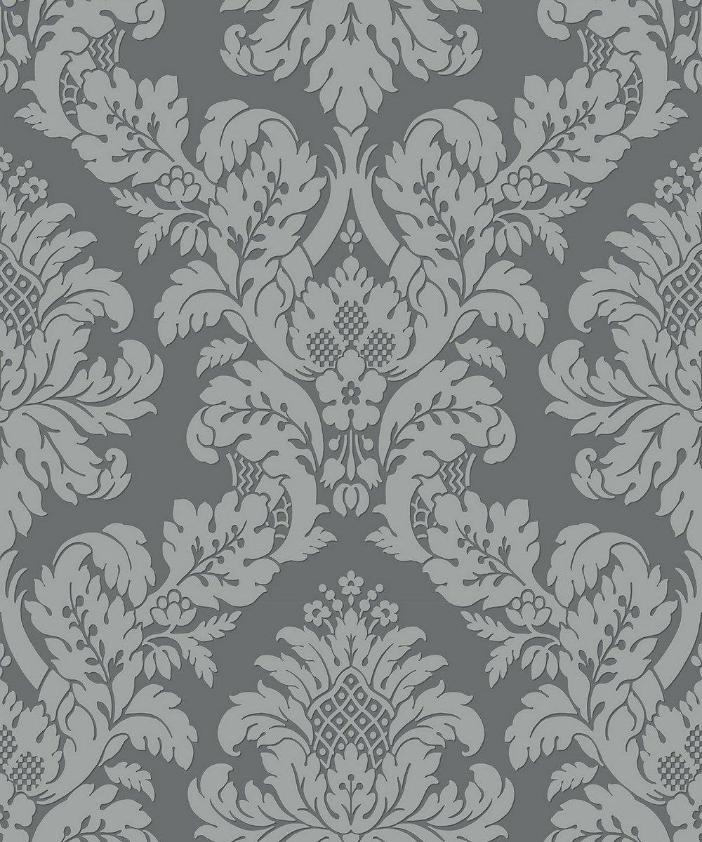 Uk10435 Pear Tree Fabric Damask Grey Silver Glitter Wallpaper