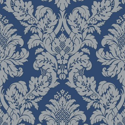 UK10457 Pear Tree Fabric Damask Blue Silver Glitter Wallpaper
