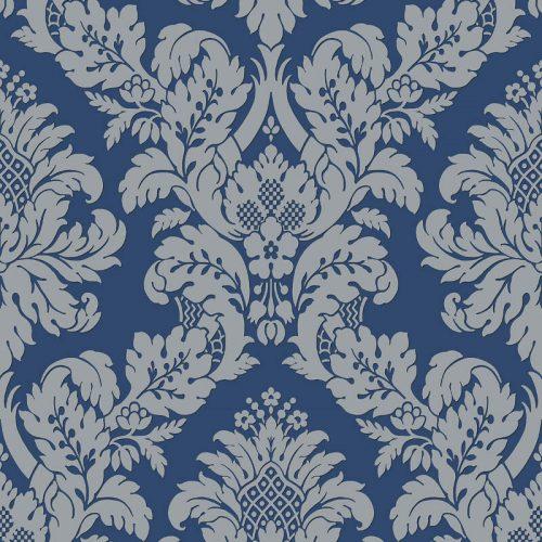 UK10457 Pear Tree Fabric Damask Blue Silver Glitter Wallpaper