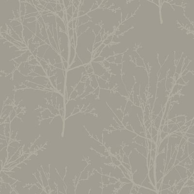 UK11508 Pear Tree Glass Bead Tree design Metallic Silver Wallpaper