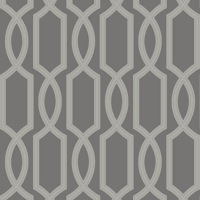 UK11705 Pear Tree Glass Bead Metallic Trellis Grey Wallpaper