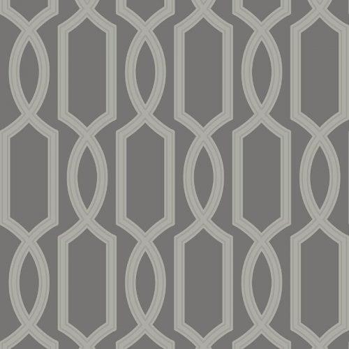 UK11705 Pear Tree Glass Bead Metallic Trellis Grey Wallpaper