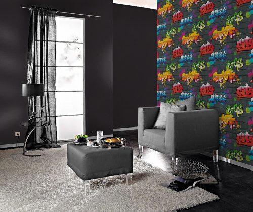 237801 Urban Graffiti Multi Shades Wallpaper Rasch