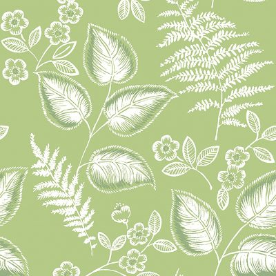 2702 22704 Trianon Green Botanical Mirabelle Street Prints Wallpaper