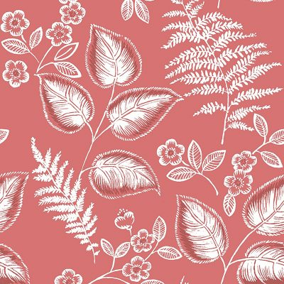 2702 22710 Trianon Coral Botanical Mirabelle Street Prints Wallpaper