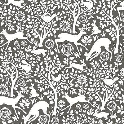 2702 22729 Meadow Charcoal Animals Mirabelle Street Prints Wallpaper