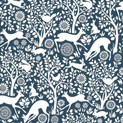 2702 22730 Meadow Navy Animals Mirabelle Street Prints Wallpaper