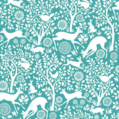 2702 22731 Meadow Teal Animals Mirabelle Street Prints Wallpaper
