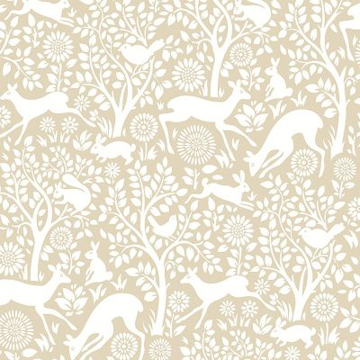 2702 22733 Meadow Taupe Animals Mirabelle Street Prints Wallpaper
