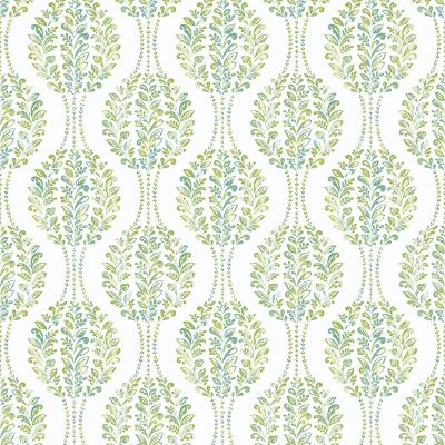2702 22740 Versailles Green Damask Mirabelle Street Prints Wallpaper